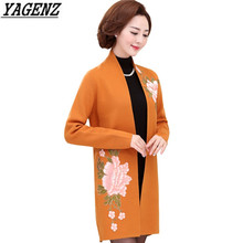 YAGENZ Autumn Winter Ladies Long Cardigan Coat Plus size Casual Flower Embroidery Knitted Sweater Elegant Slim Women Outerwear