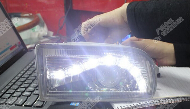 free shipping ,1998-2007 Toyota Prado land cruiser 4500 4700 LC100 led drl daytime running light with fog lamp and projector len for toyota land cruiser lc100 4700 fj100