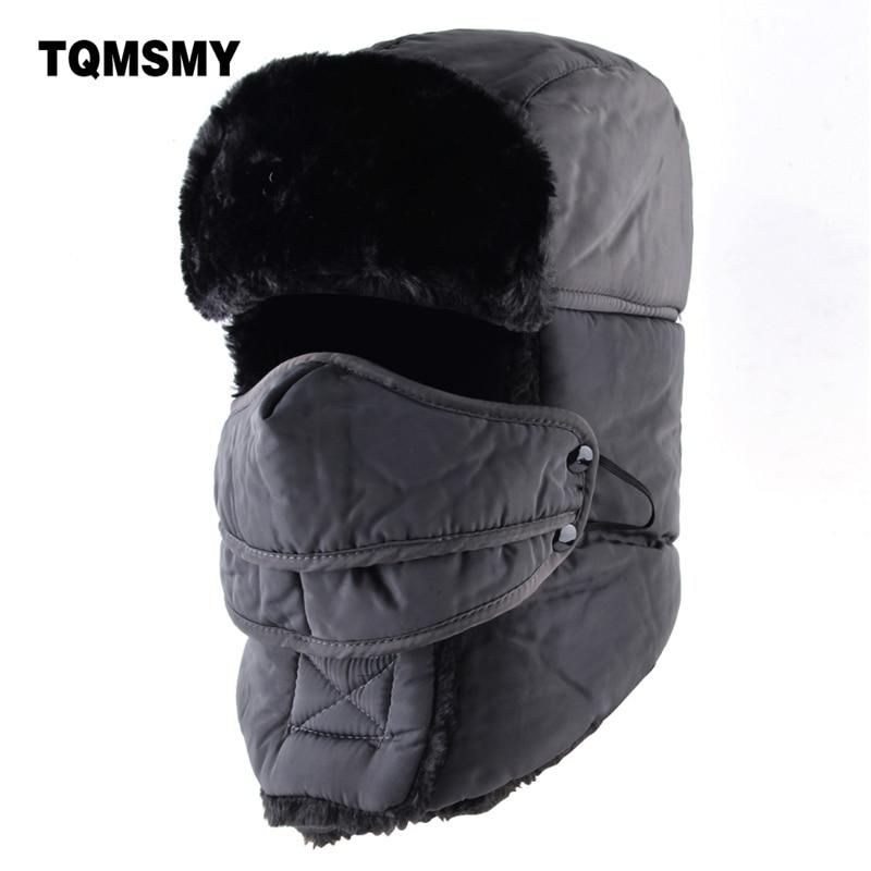 TQMSMY Russian Masks Cap Women's Winter Hats For Men Bomber Hat Adults Tricycle Ear Flaps Bone Casual Warm Ushanka Caps