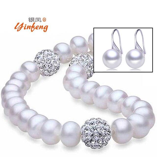 [Yinfeng] Хорошее качество стерлингового серебра 925 пробы refreshwater жемчужное ожерелье и серьги с подарочной коробке для женщин