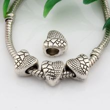 Hot ! 15pcs Antique Silver Alloy  Heart Large Hole Spacer Bead Fit European Beads Bracelet 9X9.5mm nm525