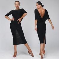 Black backless latin dance dress women rumba/Cha Cha/samba/tango dance perform/Practice dresses adult latin dance dress