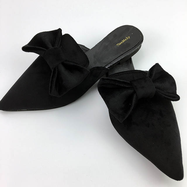 2019 women sandals flat mules bow shoes pointed Toe Loafer Fashion woman  slippers black pink green e8f2a6ed58fc