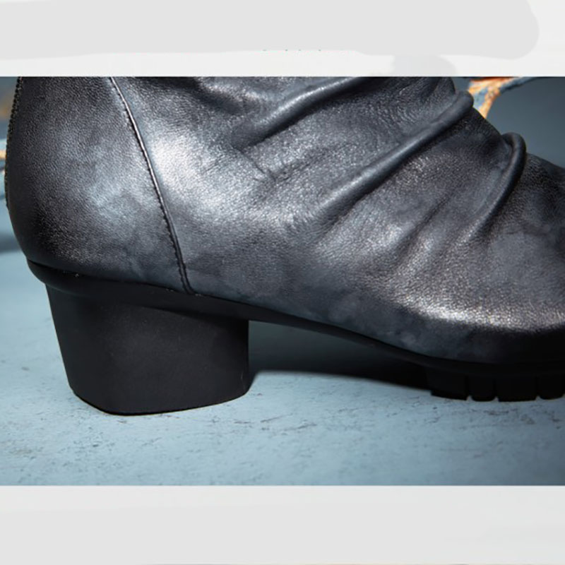 Gris Fait Respirant Chaussures Et Cuir Main Femmes Chaud Bottes Confortable À La Courtes Mi En De Rétro talon 4x4TRw