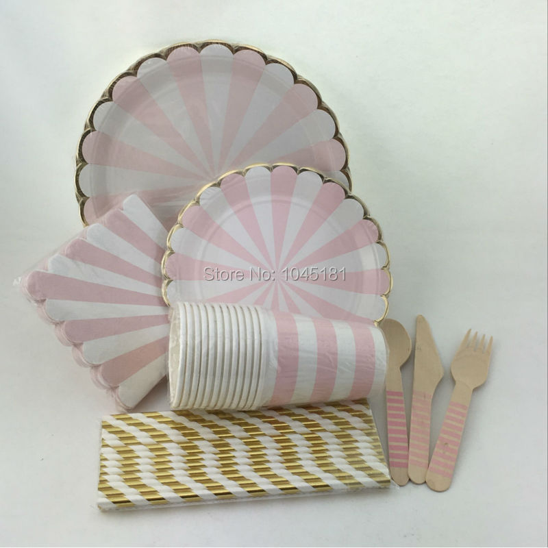 Pink striped party tableware foil gold paper straws plates for Pappgeschirr set
