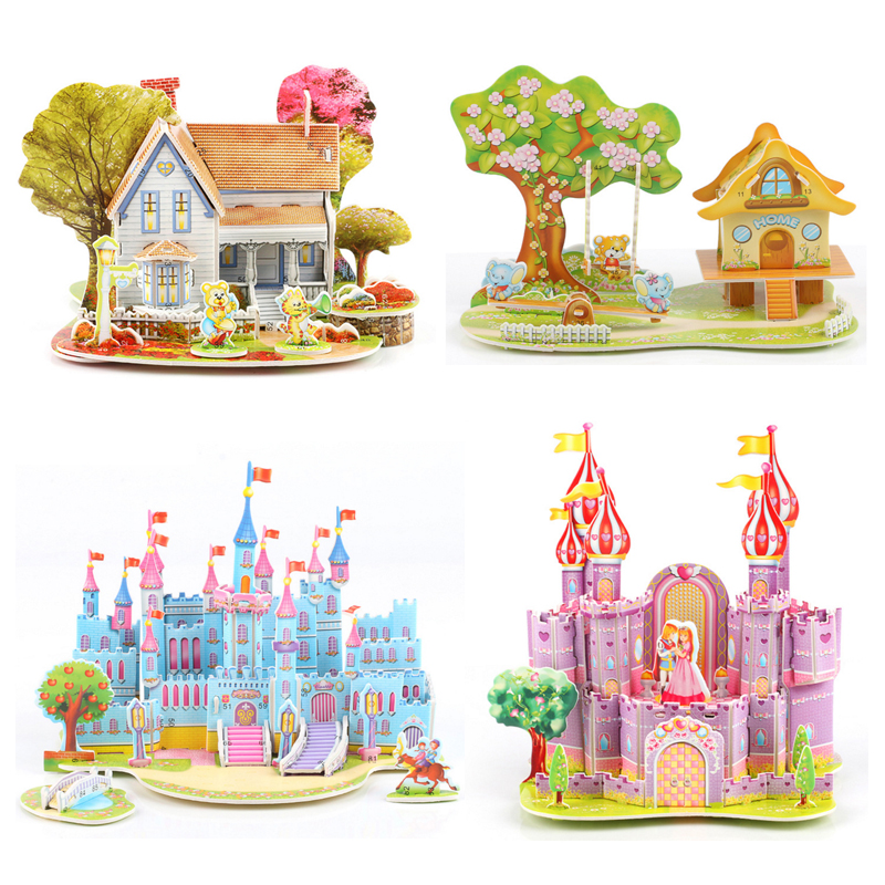 3D Stickers Scrapbooking puzzle DIY Puzzle Jigsaw Baby toy Kid Early learning Castle Construction pattern gift For Children colorful boxes pattern 3d stair stickers