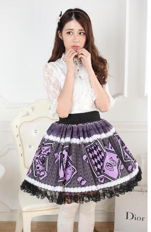 De Violet Lolita Princesse Poker Fille Garniture Plissée Doux Dentelle Jupe Imprimé Avec Carte Y8pYdq