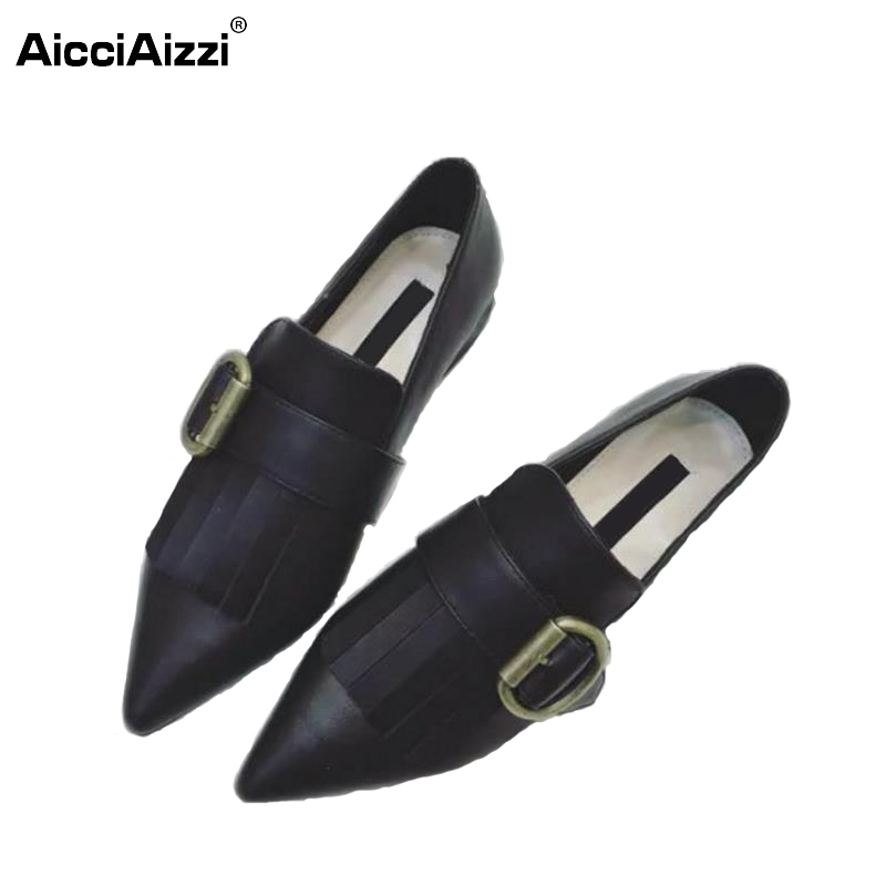 Women Shoes Women Flat Shoes Pointed Toe Squared Heels Buckle Tassel Flats High Quality Casual Fashion Sexy Footwear Size 35-39 new 2017 spring summer women shoes pointed toe high quality brand fashion womens flats ladies plus size 41 sweet flock t179