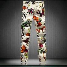 2016 Новая Мода Марка гетеросексуальных Мужчин Джинсы Для Мужчин Белый цветок Печатных Бабочка Джинсовые Мужские Тощий Slim Fit Stretch Мужчины джинсы