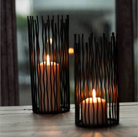 2016 High Quality Black Bohemian Style Metal Stand Candle Holders Wedding Candlestick Morocco Tealight Holder