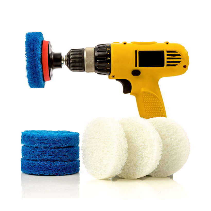 4 inch drill power brush tile scrubber scouring pads cleaning kit includes drill attachment heavy duty household cleaning tool