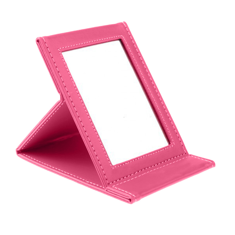 1 Pc Portable Leather Square Vanity Mirror Foldable Design Mirroe Simple Fashion Makeup Cosmetic Tool -27 ...