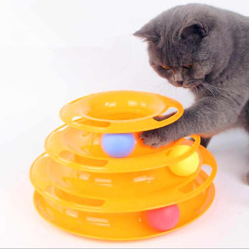Três níveis de brinquedo do gato do animal estimação torre faixas disco inteligência do gato diversão triplo pagar disco brinquedos do gato bola formação placa de diversões