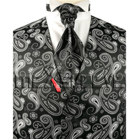 Men's Dress Tuxedo black and white paisley Vest and cravat+cufflinks+hanky