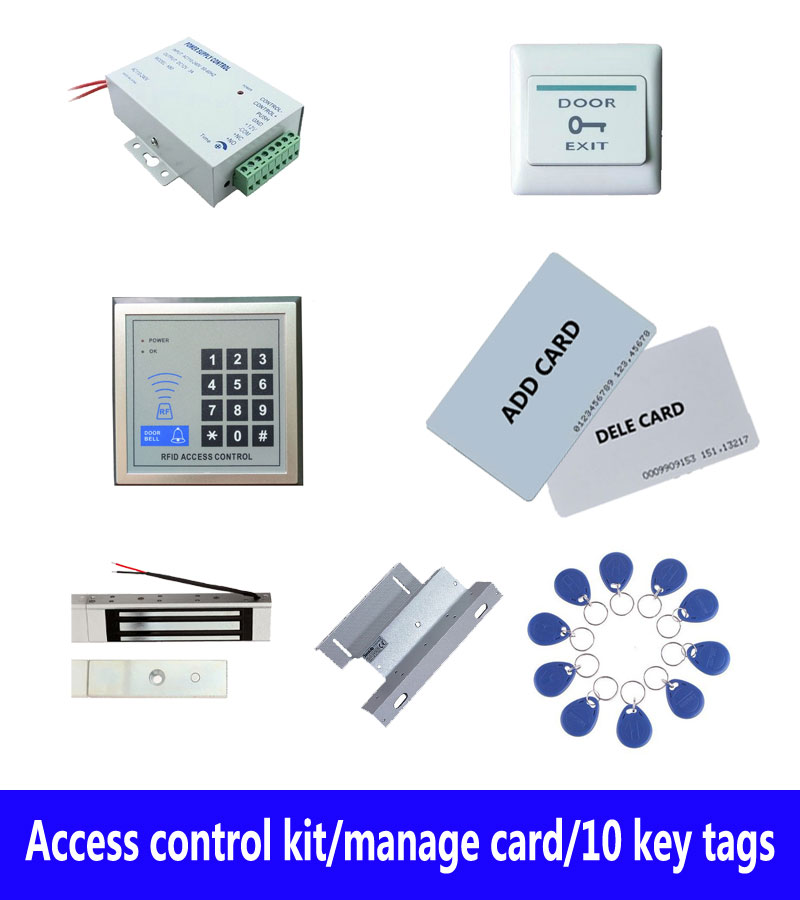 standalone access control kit, power+180kg magnetic lock+180kg ZL-bracket+exit button+2 manage card,10 keyfob ID tags,sn:set-5 free ship by dhl access control kit one em keypad access control power magnetic lock u bracket button 10 em card sn em 008