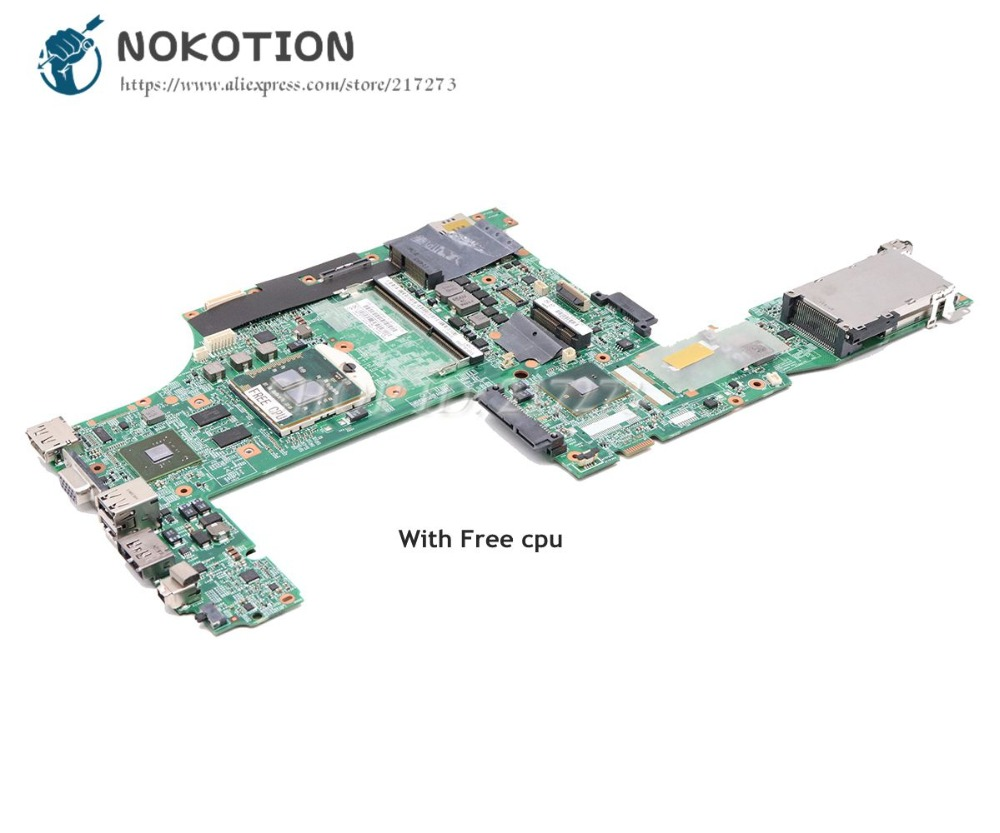 NOKOTION For Lenovo Thinkpad T510 Laptop Motherboard NVS 3100M 63Y1878 48.4CU06.031 48.4CU02.051 Main Board Free Cpu