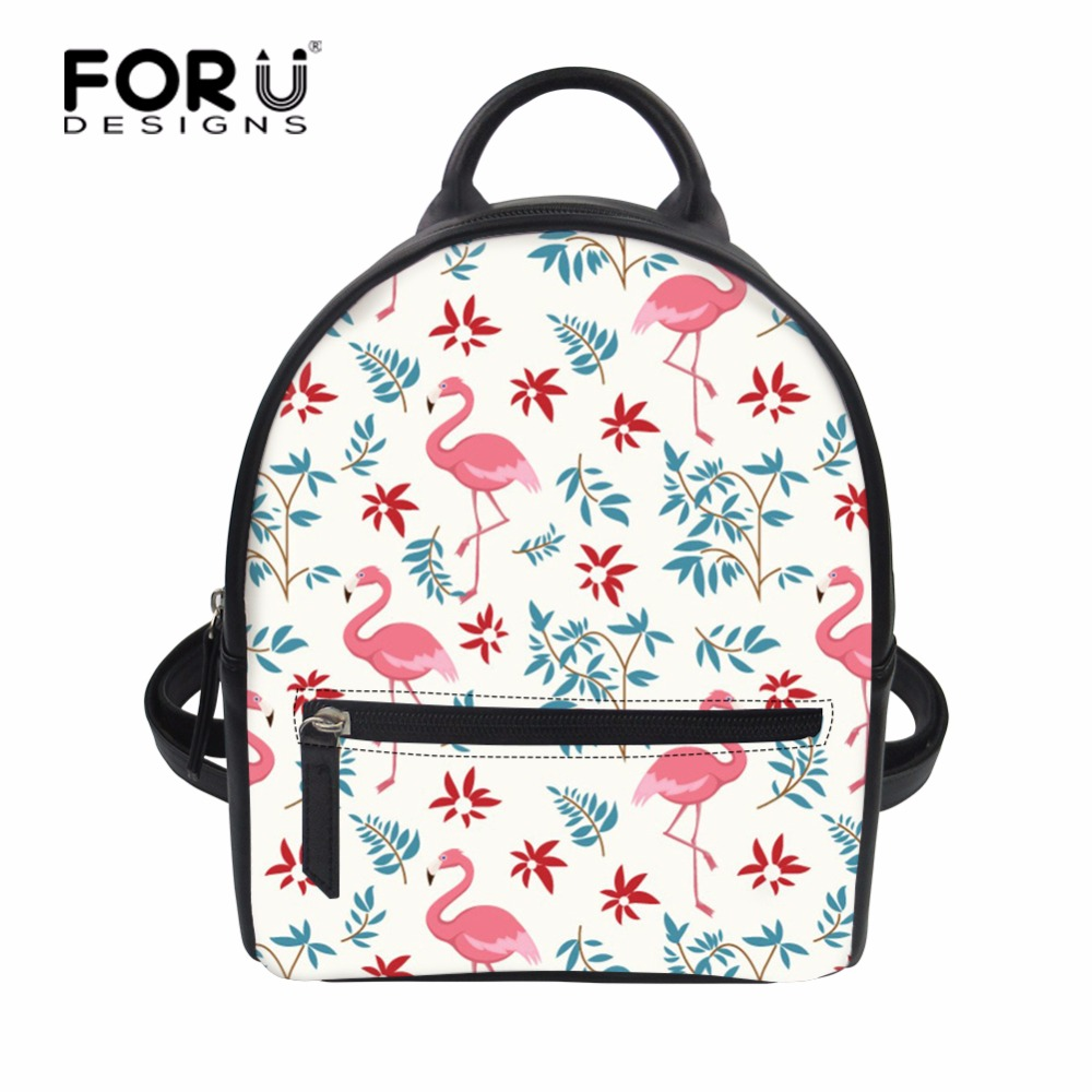 FORUDESIGNS Flamingos Pattern Women Backpack Small PU Leather Womens Backpacks Fashion School Girls Bags Female Back Pack