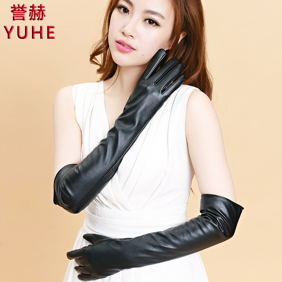 Long black leather gloves prices - Sale Women S 50cm Long Design Looply Leather Gloves Medium Long Spring And Autumn Thin Thermal Arm Sleeve Product
