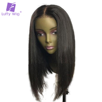 Luffy Pre Plucked Short Bob Full Lace Human Hair Wigs With Baby Hair Straight Brazilian non Remy Hair 130density Middle Part