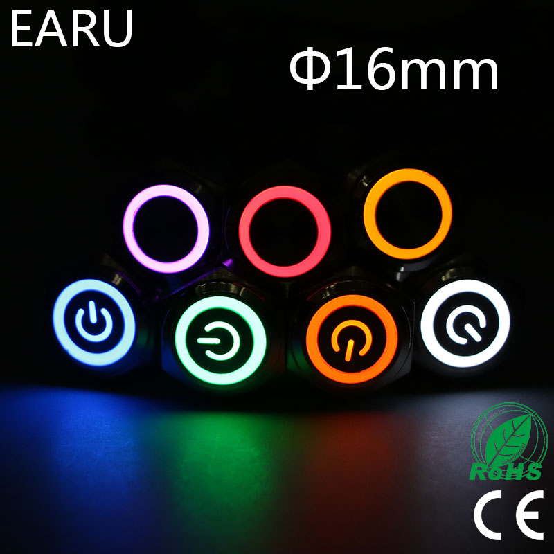 16mm Waterproof Metal Push Button Switch LED Light Latching Fixation Momentary Car Engine Start PC Power Red Blue 5V 12V 3-380V