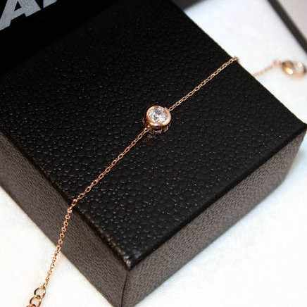 YUN RUO Fashion Brand Rose Gold Color Cubic Zircon Inlay Bracelet Charms 316L Stainless Steel Jewelry for Woman Prevent Fade