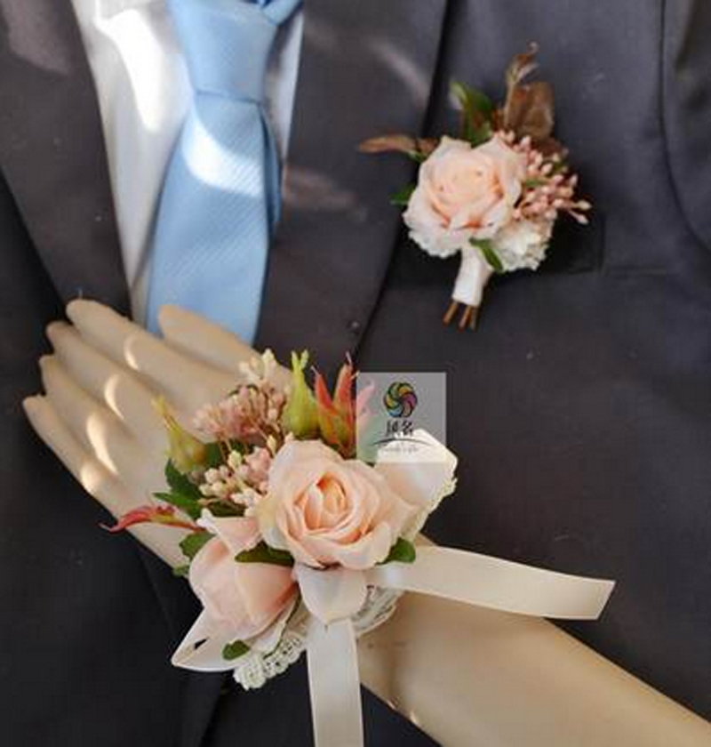 Medical & Mobility Handmade Corsages Blue Rose Bridal Wedding Supplies Groom Boutonniere Bride Bridesmaid Hand Wrist Flower Artificial Flower Fs101 Health & Beauty
