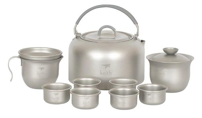 Keith Titanium Tea Cup Camping Tea Pot  Outdoor Kettle Set Picnic Water Ware Cookware  365g KA100 nz titanium pot set