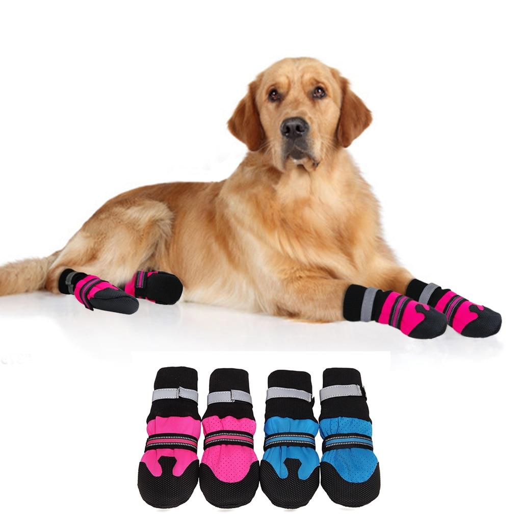 4pcs Waterproof Pet Dog Shoes Winter Anti-Slip Sno
