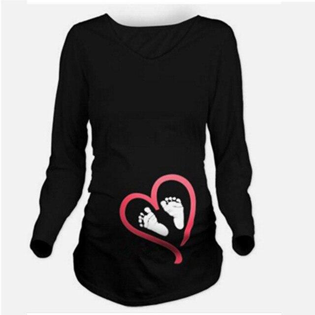 8393b2d00 Camisetas de maternidad divertidas estampadas camiseta de embarazo Chaleco  de mujer corto mangas largas