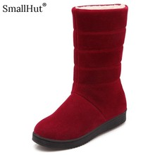купить Platform Snow Boots Women Winter Shoes E118 Fashion Ladies Black Red Purple Apricot Warm Long Plush Round Toe Mid-Calf Boots по цене 1279.04 рублей
