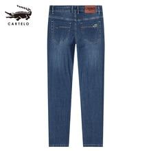 Ausgewählt männer Licht Dünne Jeans Der Mittleren Taille Gerade Slim Fit Jeans für Männer Männlich Schwarz mit Seite Taschen 2121 cartelo 2019 Neue