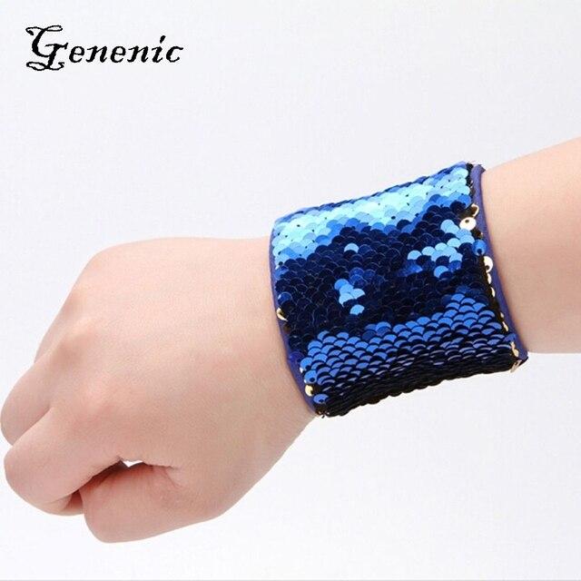 1PC New Latest Custom Personalized Mermaid Sequin Bangle Wristband Sequins High quality Bangle Women Charm Fashion Jewelry