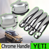 Hot Sale For Skoda YETI Luxurious Chrome Exterior Door Handle Covers ABS Plastic Accessories Stickers Car