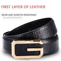 G Belts Genuine Leather Belt Solid Pin Buckle Black Business Soft Men's Belt Cow Leather Luxury Decoration Male Belt G Shape New