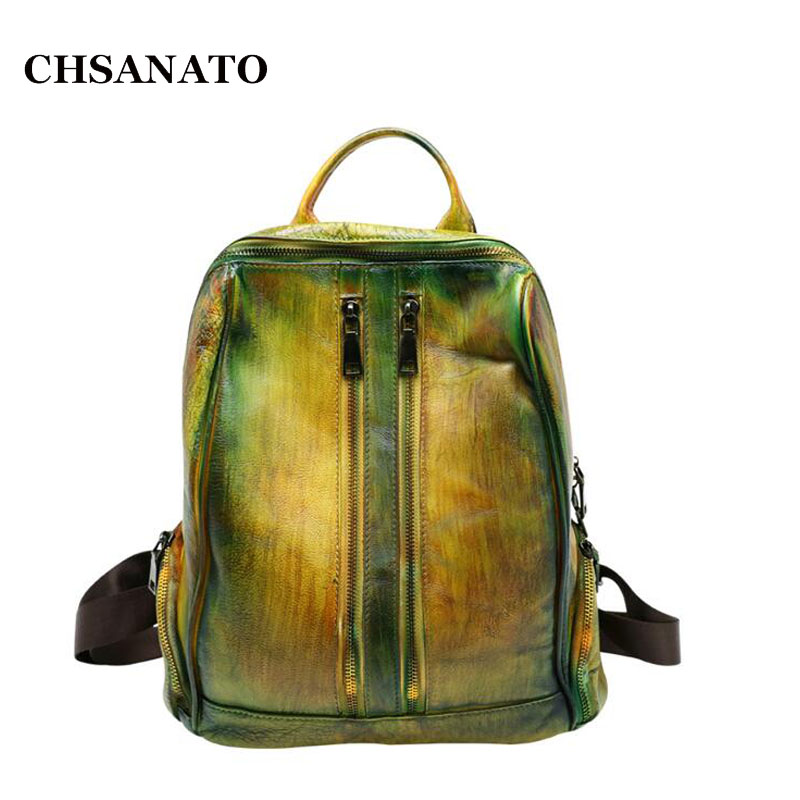 CHSANATO Ancient Style High Quality Cow Leather Backpack Women Designer Travel Double Shoulder Bags Girls Luxury Women Backpacks women bags backpacks europe style double shoulder bags for ladies high quality artificial leather bags luxury students backpacks