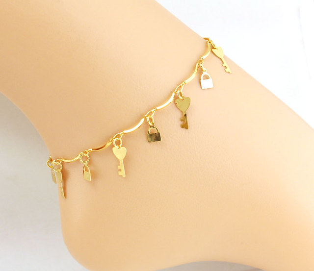 gold leg leaf bracelet jewelry p chain s anklet sandal nice adjustable to ankle