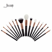 2017 Jessup Brushes 15pcs Rose Gold/Black Professional Makeup Brushes Set Cosmetics Brush Tools kit Foundation Powder T162