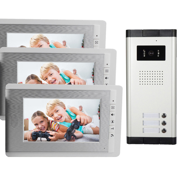 """7"""" Color LCD Wired Intercom Video Door Phone System  Doorbell IR Camera 3 Monitor for Home Security F4443B"""