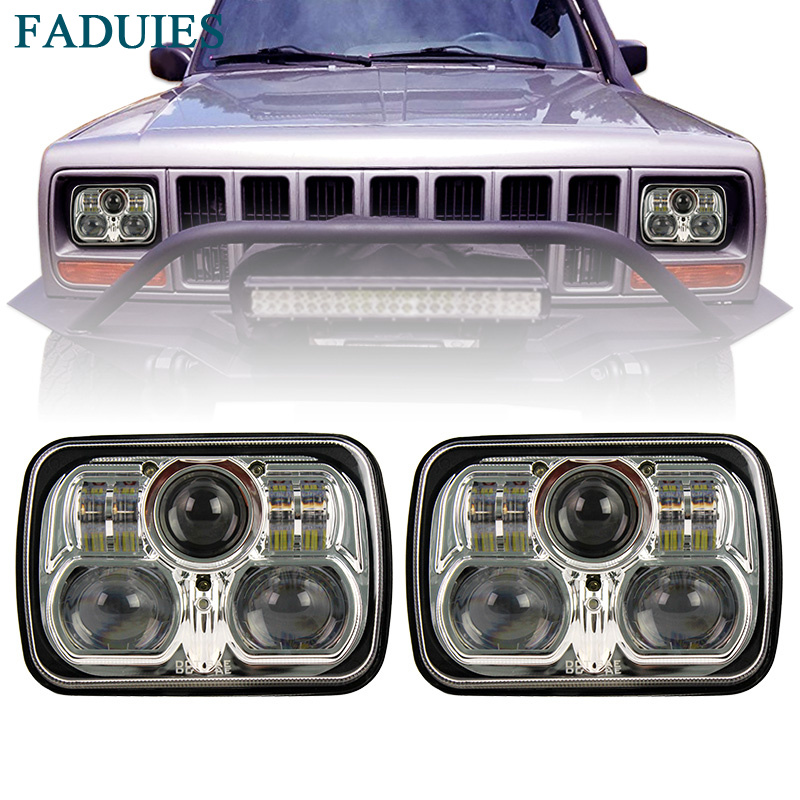 FADUIES Chrome 5''x7'' 6x7 inch Rectangle Led Headlights For Jeep Wrangler YJ Cherokee XJ H6054 H5054 H6054LL 69822 6052 6053 marlaa 7x 6 5 x 7 inch black projector led headlights for jeep wrangler yj cherokee xj h6054 h5054 h6054ll 69822 6052 6053