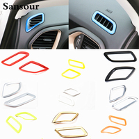Sansour 2 PC Newest Front Air Condition Vent Trims Bezel Ring Interior Cover Kits ABS For Jeep Renegade Free Shipping