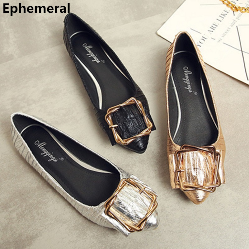 Ladies Shoes Flats With Buckle Gold