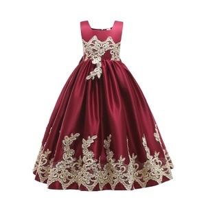 Image 5 - Royal Blue Long Summer Girl Dresses Big Bow Flower Girl Dresses Gold Applique Girls Pageant Dress First Communion Dresses