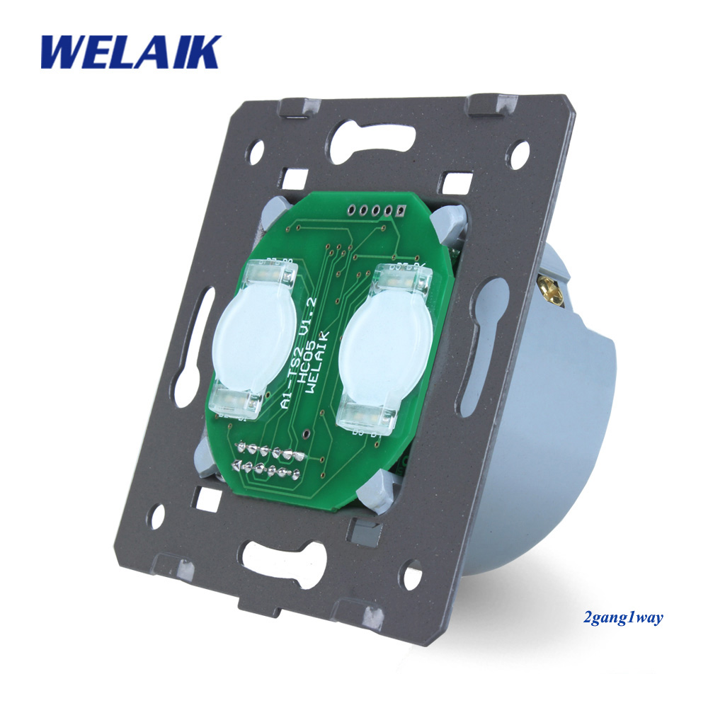 Welaik interruptor de pared blanco interruptor UE Interruptor táctil piezas de bricolaje pantalla pared interruptor 2gang1way AC110 ~ 250 V A921
