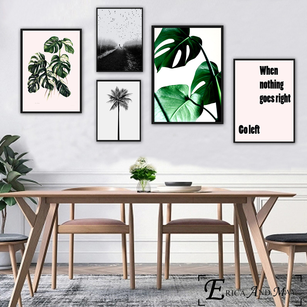 Nordic Plants Quote Canvas Painting Posters And Prints For Living Room No Framed Wall Art Picture Home Decor On Sale