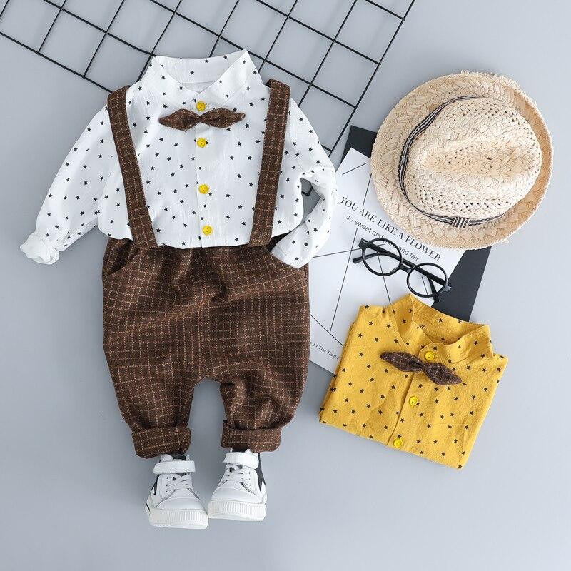 HYLKIDHUOSE פעוט ילדי בגדי חליפות אדון סגנון ביגוד סטי חולצה סינר מכנסיים סתיו ילדי תינוקות תלבושות