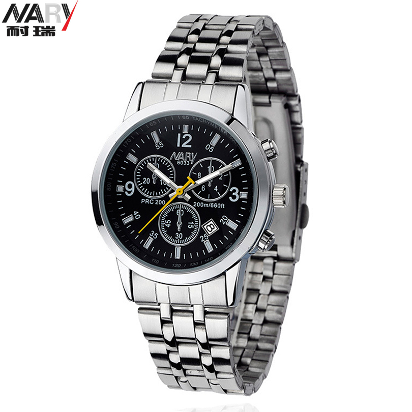 NARY  Brand New With Tags Stainless Steel Strap Analog Quartz Wrist Watch Fashion Luxury Watch Calendar Men's Casual Clock Male essential nary wristwatch bangle bracelet luxury men stainless steel classical quartz analog wrist watch gift 17tue27