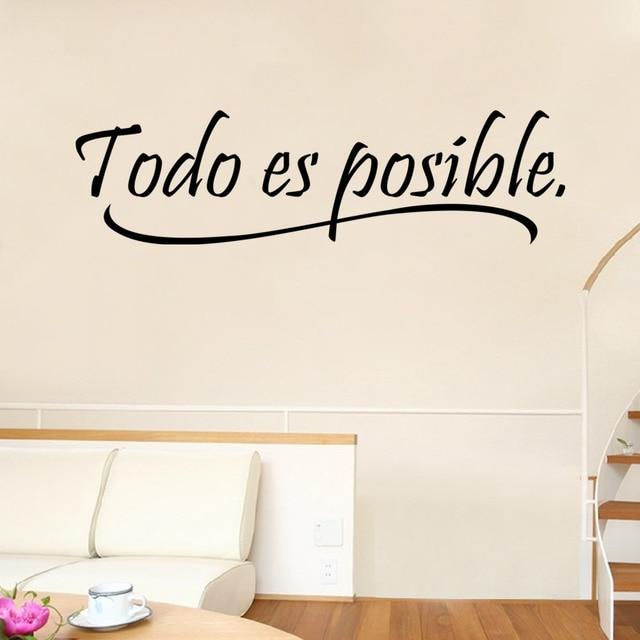 Tutto È Possibile Cita Proverbi Spagnolo Inspiring Wall Sticker Per ...