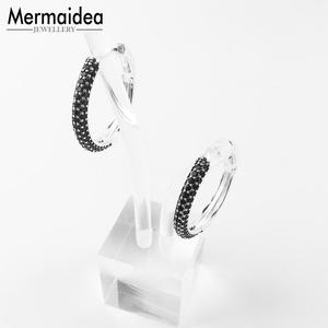 Image 5 - Creole Large Black Hinged Hoop Big Earrings Zirconia Fashion Jewelry Trendy silver plated Gift For Women Lover 2020 New