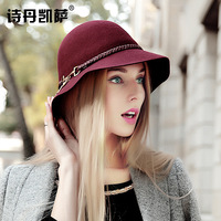 2016 New Lady Wool Fishman Dome Wide Brim Hat Fashion Cap Women Autumn Winter Elegant British