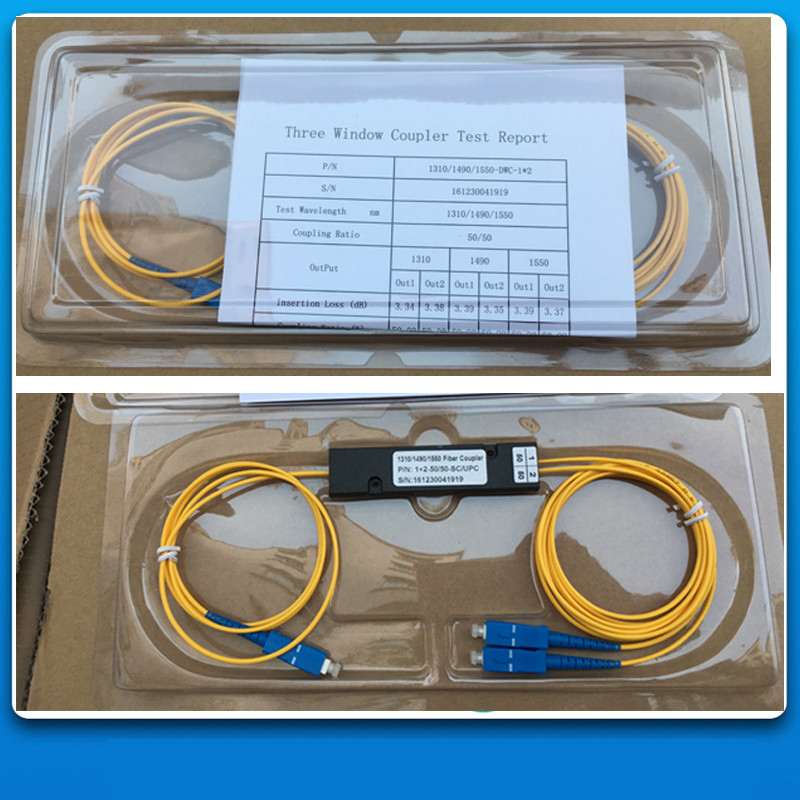 8Pcs/Lot,1X2,SM Three-Window 1310/1490/1550,50/50,SC/UPC,Cable Dia:2.0mm,L:1M,ABS Pacakge:90*20*10,1x2 FBT Coupler 1*2 Splitter